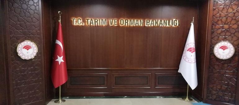 Türkiye Cumhuriyeti Tarım ve Orman Bakanlığı - İç Mekan Işıklı Krom Tabela
