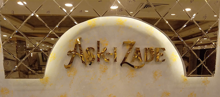 Aşkı Zade - Krom Işıklı Tabela