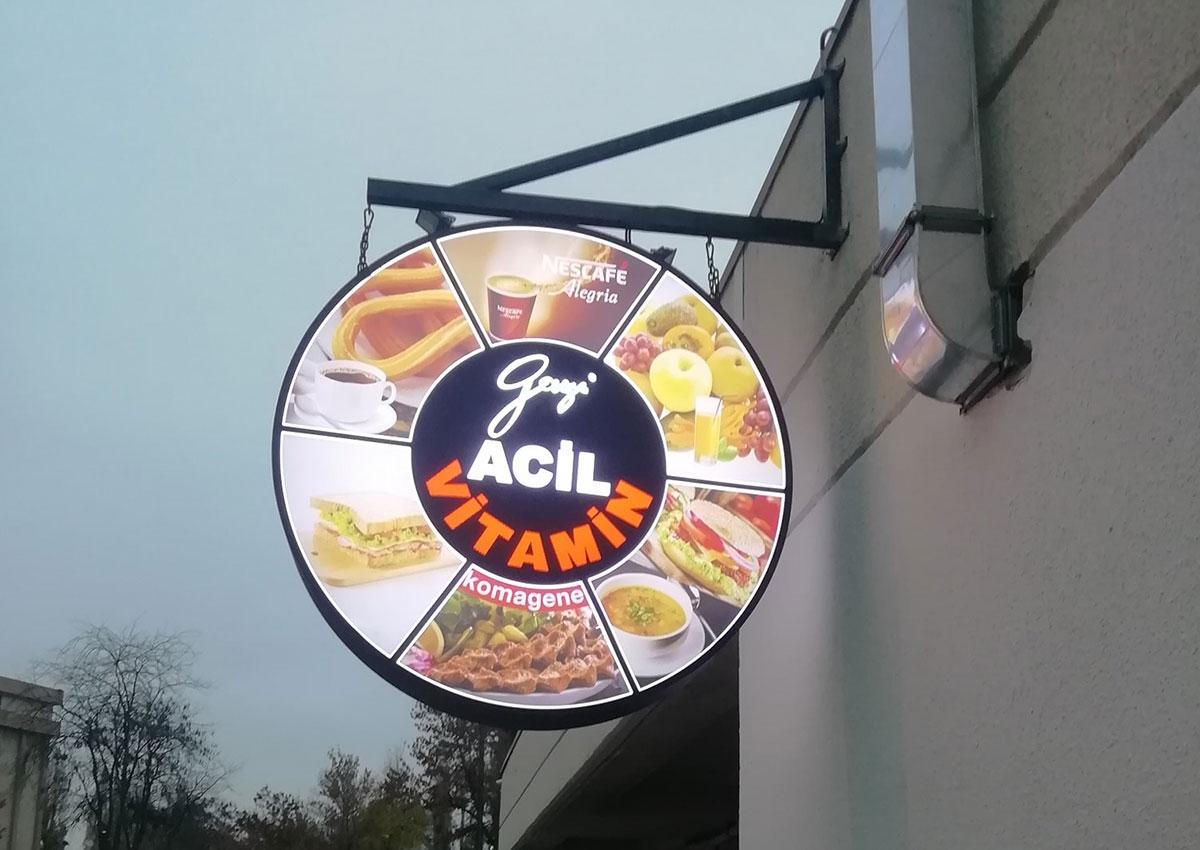 Acil Cafe Vitamin - Işıklı Yuvarlak Totem